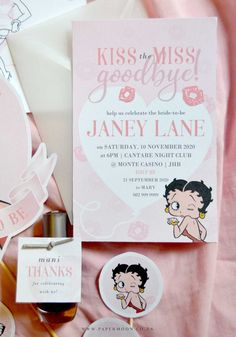 FREEBIE! Betty Boop Bachelorette Printable Kit ⋆ Papermoon Bachelorette Invitations, Ribbon Yarn, Book Posters, Glue Dots, Stationery Set, Betty Boop, Cupcake Toppers, Card Stock, Envelope