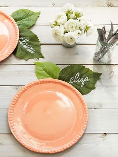 Stick personalized silk leaves to melamine plates for a super-quick, super-cute placecard.