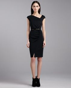 Milano Asymmetric Dress, Caviar by St. John Collection at Neiman Marcus.
