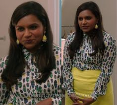 Mindy's bug print shirt appears never to have been sold online but it's part of the same Tory Burch Fall 2013 collection as her matching insect print bag and Mindy Kaling's own scarab print blouse! /// Worn with Tory Burch bag, Rachel Roy blazer and Karen Millen skirt