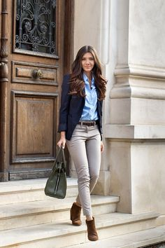Fitted Denim Collared Shirt and jeans with a dark blue blazer