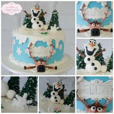 Frozen themed cake featuring hand made Olaf and Sven figures.
