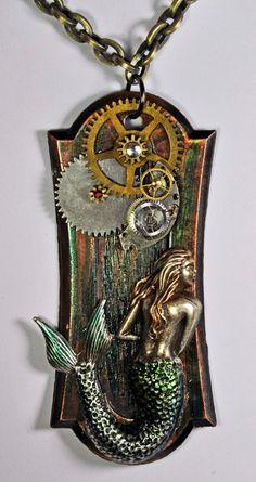 Large mermaid fantasy pendant  necklace steampunk by wedoart, $45.00