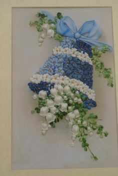 Forget-me-nots and lilies of the valleys in a bell #ribbonembroidery