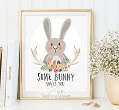Some bunny loves you Woodland Nursery wall art print Wall art Decor bear illustration nursery decoration quotes bunny valentines print ID114 by LittleEmmasFlowers on Etsy https://www.etsy.com/listing/221735420/some-bunny-loves-you-woodland-nursery