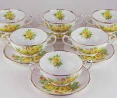 6 x Cream Soup Bowls w Saucers Royal Albert Yellow Tea Rose Antique China, Vintage China, Soup Bowls, Cream Soup, China Plates, Tea Cups, Coffee Cups, Rose Cottage, Tea Roses