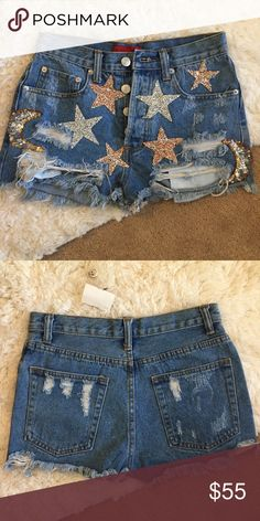NWT Star Glitter Shorts NWT, not LF (just look very similar to a style LF sold), purchased from a boutique in Los Angeles LF Shorts