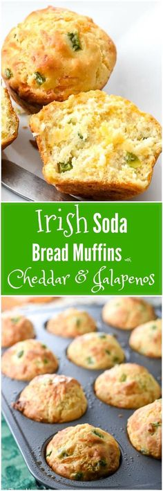 the traditional Irish Soda Bread recipe into smaller muffins and added a Texas twist with cheddar and jalapenos. With St Patrick's Day around the corner, everyone pulls out their Irish recipes. These are not traditional Irish Soda Bread. Irish Bread, Irish Soda Bread Recipes, Baking Soda Bread Recipe, Irish Food Recipes, Canadian Recipes, Scottish Recipes, French Recipes, Mexican Recipes, Pie Recipes