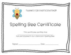 Spelling Award For Teachers To Use In The Classroom  Spelling Bee