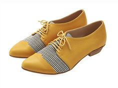 CHRISTMAS IN JULY Yellow Pepita oxford leather shoes / Polly