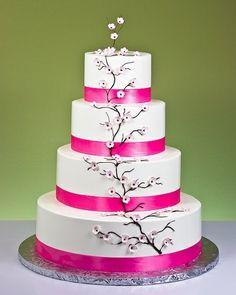 wedding cake Decoration, delicate cherry blossom decoration on white cake