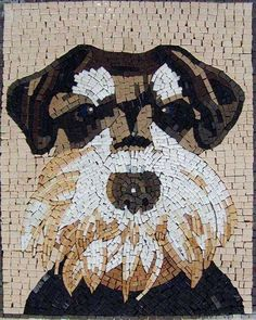 A unique mosaic mural portraying a cute Schnauzer. Created using dominant earth tones colors this mosaic can be fully customized. Create a portrait of your own pet and choose the best size for the perfect fit to your indoor or outdoor walls.