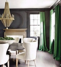 Modern house design Home Interior Design Ideas Wallpaper Green curtains My Living Room, Living Spaces, Green Dining Room, Dining Rooms, Dining Chairs, Wingback Chairs, Room Chairs, Dining Area, Upholstered Chairs