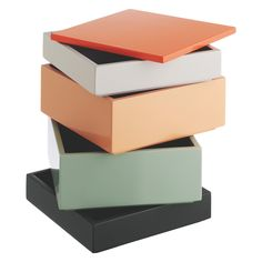 KARENA Multi-coloured 4-tier stacking storage box