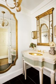 gold accented bathroom