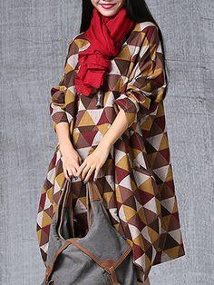 $25.11 Geometry Printed Irregular Hem Vintage Loose Women Long Sleeve Dress Online - NewChic