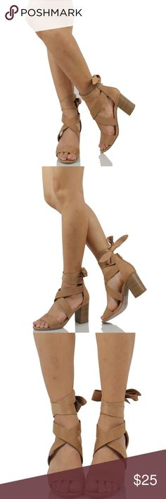 Camel Open Toe Strappy Lace Up Ankle Tie Sandal Boutique