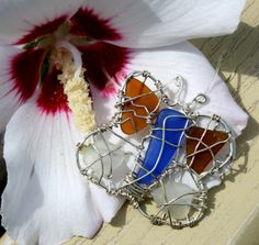 Butterfly Necklace Sea Glass  Beach Glass by BeachwritingsNJ, $30.00