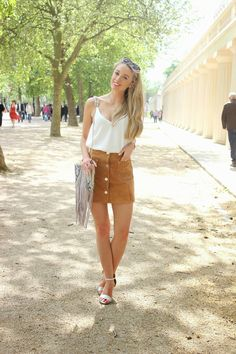 Suede Fringing  Outfit of the day, Streetstyle Fashion Blogger  Snakeskin Tassle Bag - Topshop Suede Skirt - ASOS