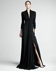 Love the peek-a-boo slit and the cascade of fabric at the waist. A perfect dress for those who like to be a little more covered! (Matte Jersey Gown by Chado Ralph Rucci at Neiman Marcus)