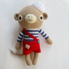 *NEW* Sailor Monkey crochet pattern 15 inches/38 cms tall!