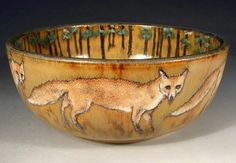 Hand Painted Pottery with Animal and Dog Art by Nan Hamilton Boston MA