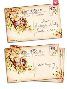 Free Vintage Altered Art Baby Post Card @Free Pretty Things For You