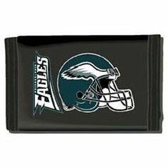 Philadelphia Eagles NYLON TRIFOLD WALLET Great FOOTBALL FAN Gift NFL . $11.00. Show your team spirit with this durable, yet functional nylon sport wallet. The trifold design includes several credit card slots and inserts for extra credit cards and photos. It has a velcro closure for added security.
