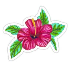 'Pink Hibiscus - Marker Illustration' Sticker by BrittaniRose Stickers Cool, Tumblr Stickers, Printable Stickers, Laptop Stickers, Planner Stickers, Freundin Tattoos, Homemade Stickers, Aesthetic Stickers, Transparent Stickers