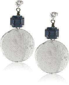 "Tova Jewelry ""Crystal Disc"" Navy Earrings   $52.5"