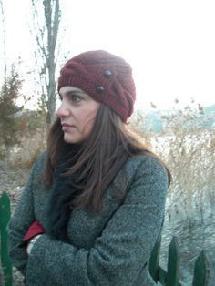 Womens Hat   Knit hat  Valentines day  Rust Orange Cloche by Ebruk,