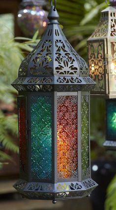 Our Moroccan Lanterns add a global vibe to the patio-maybe lanterns for the gazebo shelves
