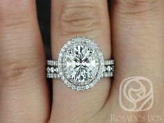 Cara 10x8mm & Petite B.B. 14kt White Gold Oval FB Moissanite and Diamonds Halo TRIO Wedding Set (Other metals and stone options available)