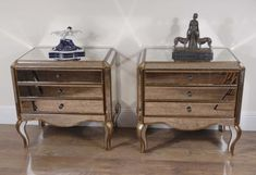 Italian 1920's Pair Art Deco Mirrored Bedside Cabinets Chests Tables