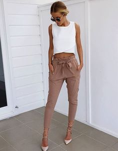 Beige Diane Pants With White Crop Top