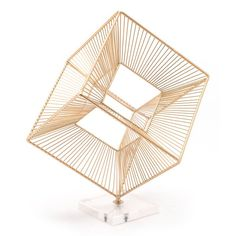 Cuadrado Figurine Gold - Zuo Modern three dimensional cube sculpture is simply mezmerizing and can be appreciated from every angle and any perspective. Use it to create a gorgeous focal point on a bookshelf or accent table. Its versatile, eye-ca Decorative Objects, Decorative Accessories, Decorative Pillows, Rattan, Visual Texture, Home Office Design, Home Decor Outlet, Three Dimensional, All Modern