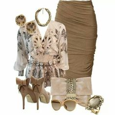 A fashion look from November 2014 featuring Roberto Cavalli blouses, Donna Karan skirts and Jimmy Choo clutches. Browse and shop related looks. Resale Clothing, Clothing Sets, Church Outfits, Work Looks, Fashion Addict, Outfit Sets, Casual Chic, Passion For Fashion, Spring Fashion