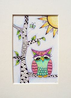 Owl drawing, zentangle, original drawing, pen and colored pencil. €7.50, via Etsy.