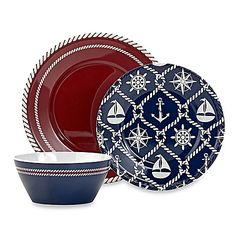 Throw a party with a summer-inspired theme that will always be a hit by using Nautical Melamine Dinnerware to serve seasonal favorites on the patio. Designed to replicate the look of ceramic, each piece makes a festive addition to your dinner table.