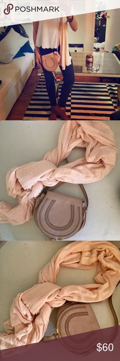 Pale pink scarf Last photo shows the length (I'm 5'2). Amazing wrap scarf and great for winter since it's so long. Brand new. No signs of wear. J. Crew Accessories Scarves & Wraps