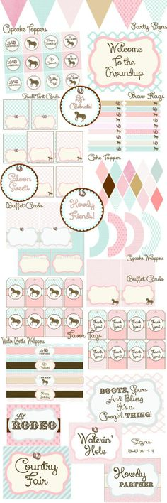 cowgirl printable party pack | Cowgirl, Rodeo, Horse Party Pack, 60% off, Instant Download, DIY ...