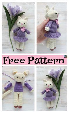 Crochet Amigurumi Kitty in Lilac Dress – Free Pattern #freecrochetpatterns #amigurumi #kitty