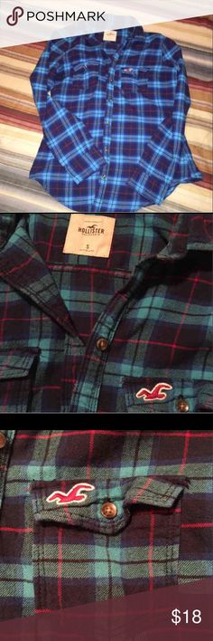 Hollister flannel So soft & warm. Light blue, red, and navy Hollister juniors size small ( fits like a. Xs ). EUC. Hollister Tops Button Down Shirts