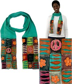 Patchwork Peace Scarf at The Rainforest Site