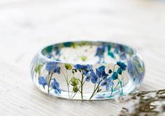 Real Flower Forget me Nots Bangle - Blue and Green - Choose Your Size