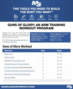Looking for an arm day workout that will guarantee you growth in your biceps and triceps? Check out the Guns of Glory program & start putting in work today! #workout #gym #fitness #bodybuilding