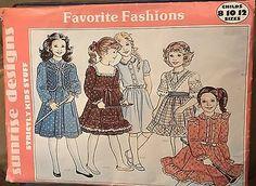 Sunrise-Designs-Sewing-Favorite-Fashions-Girls-dress-variations-sz-8-10-12-uncut