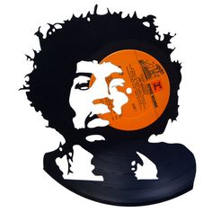 Jimi Hendrix Silhouette Vinyl Record Art