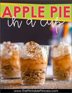 Apple Pie in a Cup is the perfect snack to end your apple themed week in PreK, Kindergarten, or First Grade. A fun fall activity!