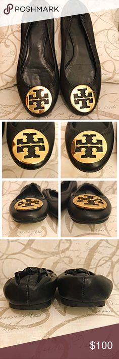 Tory Burch Reva ballet flats Black leather ballet flats that feature large gold Tory Burch medallions. Some damage and are shown in the pictures. Tory Burch Shoes Flats & Loafers